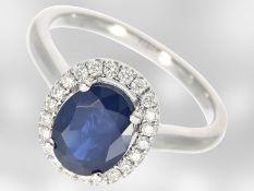 Ring: sehr schöner vintage Saphir/Brillant-Ring aus 14K Weißgold, ungetragen