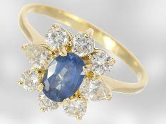 Ring: feiner vintage Saphir/Diamant-Blütenring, ca. 1,45ct