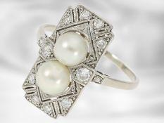 Ring: Art déco Damenring mit Zuchtperlen und Brillanten, Handarbeit aus Platin