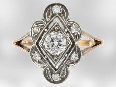 Ring: dekorativer Brillantring, insgesamt ca. 0,6ct, 14K Rotgold & Silber, antik