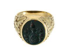Ring: aufwändig gearbeiteter massiver Siegelring, 14K Gelbgold