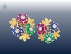 Ohrschmuck: sehr schöne vintage Ohrstecker mit Farbsteinen und Diamanten, Goldschmiedearbeit