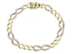 Armband: dekoratives vintage Goldschmiedearmband mit Diamantbesatz, Handarbeit aus 14K Gold