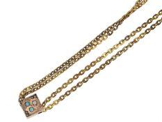 Uhrenkette/Medaillonkette: feine Jugendstil Medaillonkette aus 14K Gold