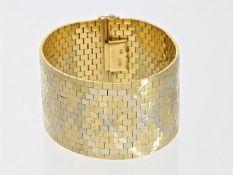 Armband: äußerst schweres und breites, ehemals teures Goldschmiedearmband, 18K Bicolor