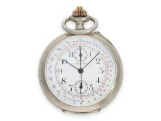 """Pocket watch: very beautiful silver Longines pocket chronograph """"Antimagnetique"""" with special dial"""
