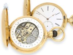 Pocket watch: exceptionally heavy gold hunting case watch with rare calendar, chronometer,