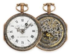 Pocket watch: exquisite 18K verge watch with skeletonized movement and gemstone setting, Geneva