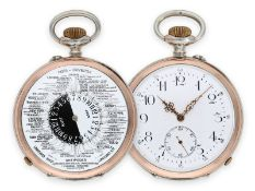 """Pocket watch: extremely rare double-sided world time pocket watch with day/ night display, """"Hora-"""