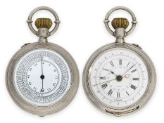 Pocket watch: rarity, double-sided silver military chronograph to determine the distance of