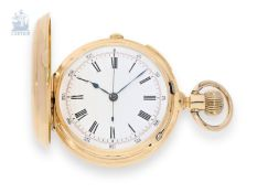Pocket watch: early and heavy golden hunting case watch repeater with chronograph, Switzerland ca.