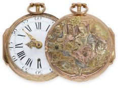 Pocket watch: magnificent German Rococo verge watch with 4-colour gold case and very elaborate and