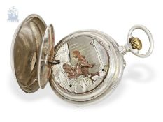 Pocket watch: rare pocket watch with concealed erotic automaton, Switzerland ca. 1890