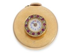 Buttonhole watch: extremely rare buttonhole watch in 18K gold with diamond and ruby setting, punched