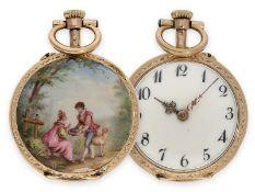 Pocket watch: beautiful miniature gold/ enamel lady's watch with Rococo enamel painting in Watteau
