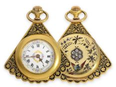 Pendant watch/ form watch: extremely attractive and very rare gold/ enamel form watch with diamond