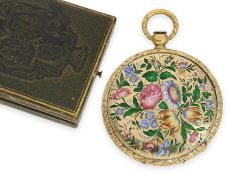 Pocket watch: ultra thin Lepine with very fine enamel painting, museum piece, Le Roy & Fils No.