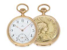 Pocket watch: extremely rare Omega gold marksman watch, limited deck chronometer, Eidgenössisches