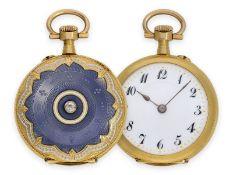 Pocket watch/ pendant watch: exquisite Art Nouveau gold/ enamel lady's watch with diamond setting,