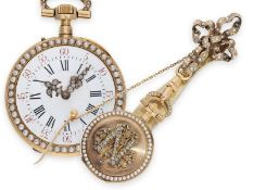 Pocket watch/ pendant watch: exquisite gold Louis XV lady's watch with pearl and diamond setting and