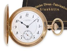 Pocket watch: exceptionally large A. Lange & Söhne gold hunting case watch in original condition
