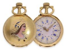 Pocket watch: rare Art Nouveau gold/ enamel lady's watch with representation of the goddess