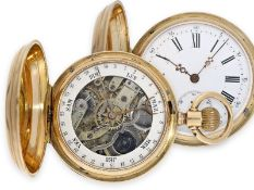 Pocket watch: fine Swiss gold hunting case watch with calendar on the back, ca. 1880