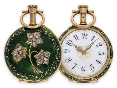 Pendant watch: exquisite gold/ enamel lady's watch with diamond setting, No. 37168, attributed to Le