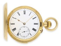Pocket watch: heavy gold hunting case watch with minute repeater, interesting Swiss movement in