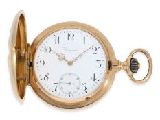 "Pocket watch: heavy pink gold hunting case watch, ""CHRONOMETRE LONGINES"", ca. 1910"
