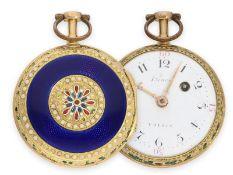 Pocket watch: fine 20K gold/ enamel verge watch, Henry Voisin Paris No.4658, ca. 1770