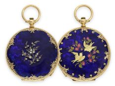 Pocket watch: beautiful gold/ enamel hunting case watch in the style of the early watches by Patek &