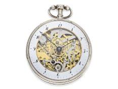 Pocket watch: large skeletonized pocket watch repeater, No.9779, probably Switzerland ca. 1820Ca.