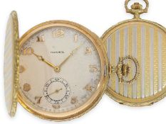 Pocket watch: exquisite, extremely beautiful Art Deco gold hunting case watch with pinstripe