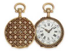 Pocket watch: ultra-fine Louis XV lady's' Lepine with gold/ enamel case, set with diamonds and