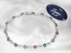 Armband: sehr dekorativer italienischer Armschuck, zierliches Blumenarmband mit Rubinen, Saphiren,