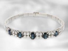 Armband: vintage Saphir/Brillant-Armband, ca. 4,3ct, hochwertige Goldschmiedearbeit aus 18K