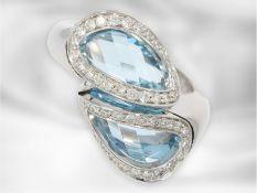 Ring: attraktiver Designerring aus Italien mit Topasen und Brilllanten, 18K Weißgold, Superoro