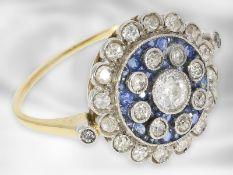 Ring: seltener, antiker Saphir/Diamant-Blütenring, um 1900