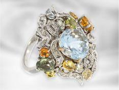 Ring: neuwertiger, breiter und äußerst dekorativ gestalteter Designer-Cocktailring, reicher
