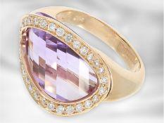 Ring: attraktiver Roségold Designerring mit Amethyst und Brillanten, 18K Gold, Superoro,