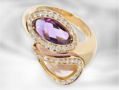 Ring: interessanter Roségoldring mit Amethyst, Rosenquarz und Brillanten, im ungewöhnlichen