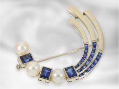 Brosche/Nadel: vintage Goldschmiedebrosche mit Perlen und Saphiren