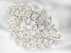 Ring: ausgefallener, ehemals teurer vintage Brillant/Diamant-Blütenring, 18K Weißgold, zusammen