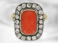 Ring: sehr interessanter antiker Korallring mit Altschliff-Diamanten, insgesamt ca. 0,9ct, 14K