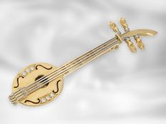"""Brosche/Nadel: handgefertigtes goldenes """"Miniatur-Saiteninstrument"""" als Brosche mit Brillanten,"""