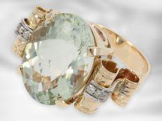 Ring: roségoldener Ring mit Prasiolith und Brillanten, vermutlich 50er Jahre, insgesamt ca. 16,28ct,