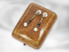 Ohrschmuck: seltener, antiker Ohrschmuck mit feinen Perlen und Diamantbesatz