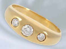 Ring: klassischer, hochwertiger vintage Bandring mit Brillantbesatz, 0,41ct, 18K Gold