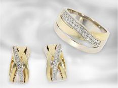 Ring/Ohrschmuck: dekoratives Schmuckset im overcross-Design, bestehend aus Ring und Creolen, besetzt